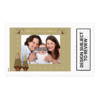 Personalized Merry Christmas Vintage Postage Stamp