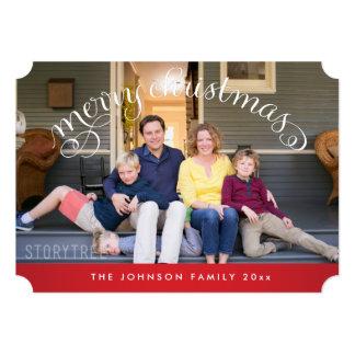 名前入りなメリークリスマスの写真カードチケット カード