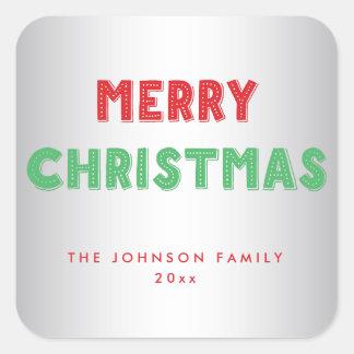 名前入りなメリークリスマスの正方形の銀のステッカー スクエアシール