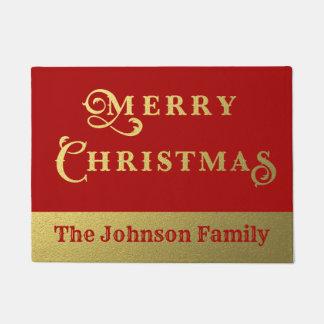 名前入りなメリークリスマスの赤および金ゴールドの歓迎 ドアマット