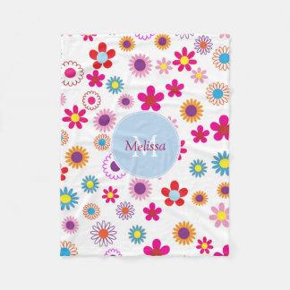 名前入りなモダンでかわいくおもしろいで多彩な花 フリースブランケット