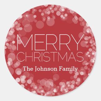 名前入りなモダンなメリークリスマスの赤い《写真》ぼけ味 ラウンドシール