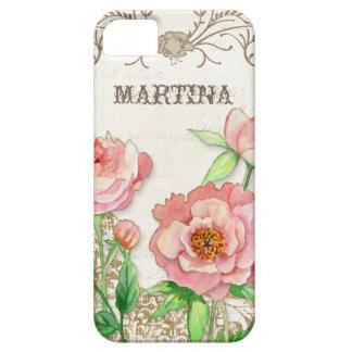 名前入りなモダンなヴィンテージのシャクヤクの花柄の渦巻 iPhone SE/5/5s ケース