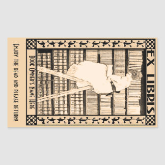 名前入りなモダンなヴィンテージの蔵書票v1 長方形シール