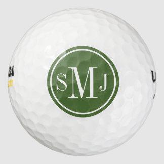 名前入りなモノグラムおよび梢フレーム ゴルフボール