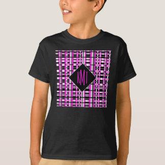 名前入りなモノグラムのイニシャルのピンクの格子縞 Tシャツ