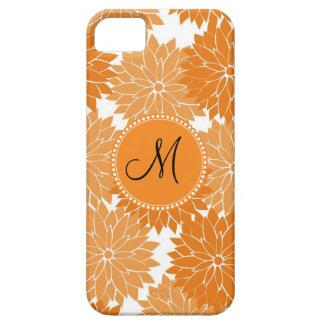名前入りなモノグラムのオレンジ花の花 iPhone SE/5/5s ケース
