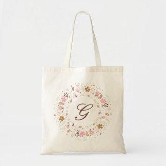 名前入りなモノグラムのガーリーな花のリース トートバッグ
