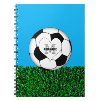 名前入りなモノグラムのサッカーボール ノートブック