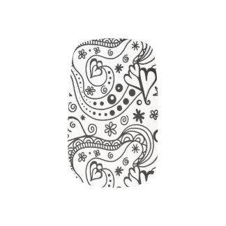 名前入りなモノグラムのハート愛落書きパターン ネイルアート