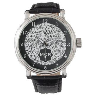 名前入りなモノグラムのハート愛落書きパターン 腕時計