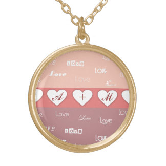 名前入りなモノグラムのバレンタインデーのネックレス ゴールドプレートネックレス