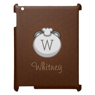 名前入りなモノグラムのパンダ|エレガントなブラウン iPadケース