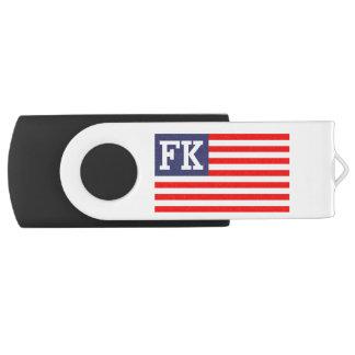 名前入りなモノグラムの愛国心が強い米国旗 USBフラッシュドライブ
