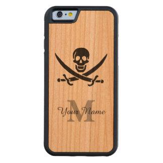 名前入りなモノグラムの海賊旗 CarvedチェリーiPhone 6バンパーケース