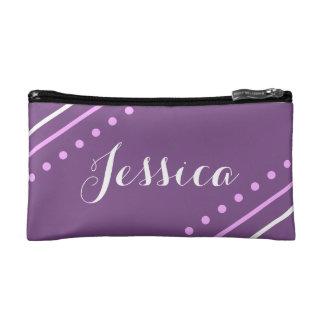 名前入りなモノグラムの紫色のパターン(の模様が)あるなバッグ コスメティックバッグ
