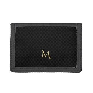 名前入りなモノグラムパターン三重ナイロン財布