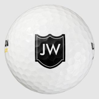 名前入りなモノグラム-黒 ゴルフボール
