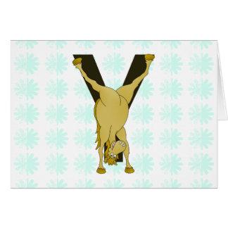 名前入りなモノグラムYのおもしろいな子馬 カード