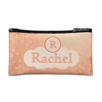 名前入りなモモの新婦付添人の化粧品のバッグ コスメティックバッグ