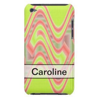 名前入りなライムグリーンのピンクの抽象芸術 Case-Mate iPod TOUCH ケース