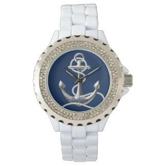 名前入りなラインストーンの腕時計の銀のいかり ウォッチ