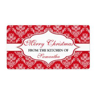 名前入りなラベルの台所からのクリスマス ラベル