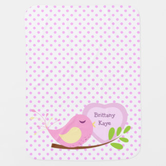 名前入りなラベンダーの水玉模様のピンクの鳥 ベビー ブランケット