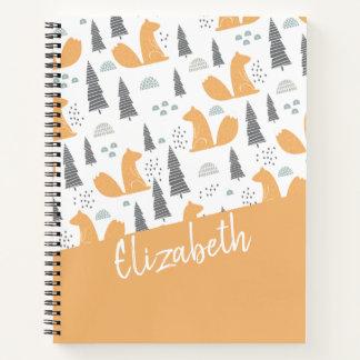 名前入りなリスパターン-オレンジ灰色 ノートブック