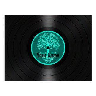 名前入りなレコードティール(緑がかった色)の青い生命の樹 ポストカード