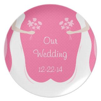 名前入りなレズビアンの結婚式 プレート