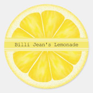 名前入りなレモン切れのステッカー ラウンドシール