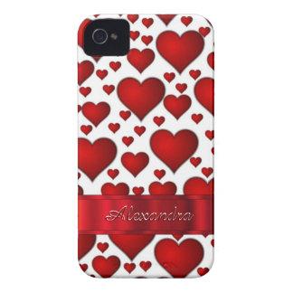 名前入りなロマンチックなハートパターン Case-Mate iPhone 4 ケース