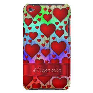 名前入りなロマンチックなハートパターン iPod Case-Mate ケース