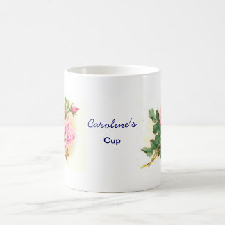 名前入りなロマンチックなピンクのバラ コーヒーマグカップ