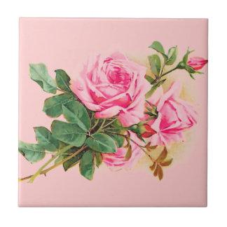 名前入りなロマンチックなピンクのバラ タイル
