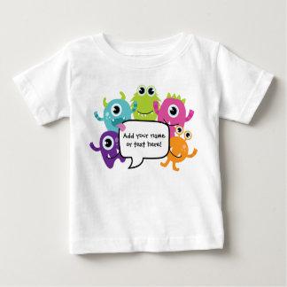 名前入りなワイシャツかロンパース-小さいモンスターのデザイン ベビーTシャツ