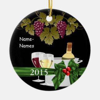 名前入りなワイン愛好家2015休日のオーナメント セラミックオーナメント
