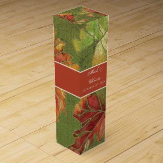 名前入りなワイン箱のエレガントな秋のブドウの葉 ワインギフトボックス
