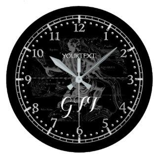 名前入りなヴィンテージのアクエリアスの星座の(占星術の)十二宮図 ラージ壁時計