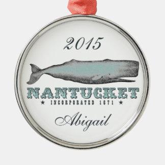 名前入りなヴィンテージのクジラNantucketマサチューセッツ メタルオーナメント