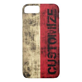 名前入りなヴィンテージのグランジなポーランドの旗 iPhone 8/7ケース