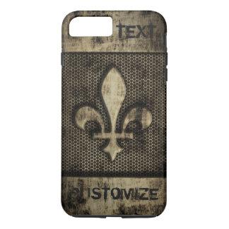 名前入りなヴィンテージのグランジな(紋章の)フラ・ダ・リ iPhone 8 PLUS/7 PLUSケース