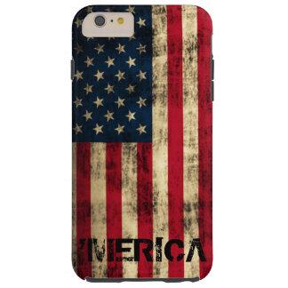 名前入りなヴィンテージのグランジな「Mericaの旗 Tough iPhone 6 Plus ケース