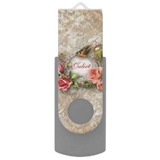 名前入りなヴィンテージのダマスク織のバラおよび鳥 USBフラッシュドライブ