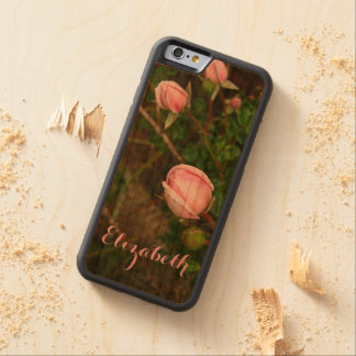 名前入りなヴィンテージのバラのつぼみの木の電話箱 CarvedチェリーiPhone 6バンパーケース