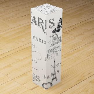 名前入りなヴィンテージのパリのテーマの白い結婚式 ワイン 化粧箱