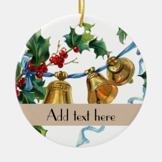名前入りなヴィンテージのヒイラギの鐘のクリスマスの装飾 セラミックオーナメント