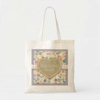 名前入りなヴィンテージの国の花のトートバック トートバッグ