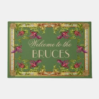 名前入りなヴィンテージの旧式でフランスのな花フレーム ドアマット